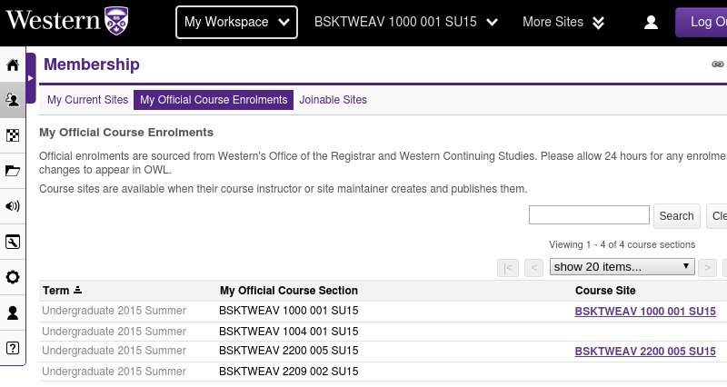 The My Official Course Enrolments page listing courses and links to course sites